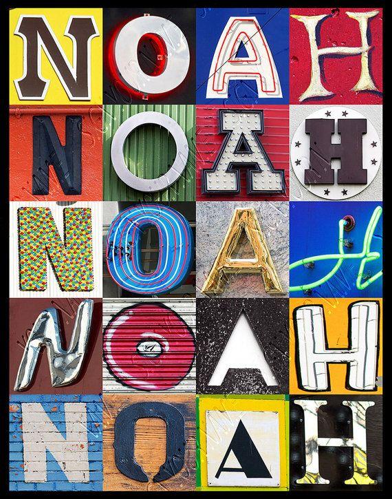 Cartel personalizado con NOAH en fotos de letras por SignYourNames