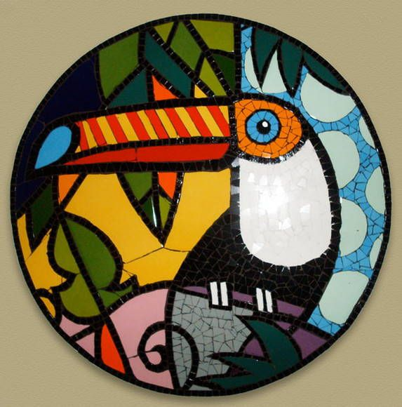 Quadro em mosaico de azulejos cerâmicos, com base de compensado naval, ideal p/ areas internas e externas. R$ 295,00