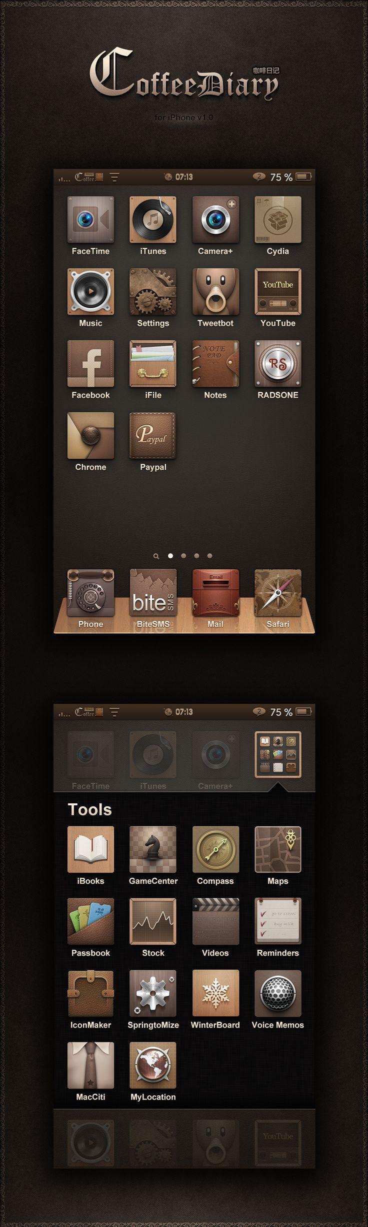 iPhone手机主题《咖啡日记》上线,求下载支持咯~