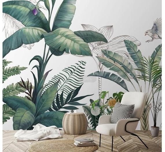 Light Banana Leaves Removable Wallpaper Banana Leaf Watercolor Wall Mural Peel And Stick Monstera Leaf Foliage Tropical 22 Watercolor Leaves Leaf Wallpaper Wall Murals