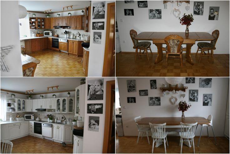 Po obývacím pokoji, který podlehl mým štětcům asi před měsícem,   a o kterém jsem Vám psala TADY ,   přišla na řadu i kuchyň.         Op...