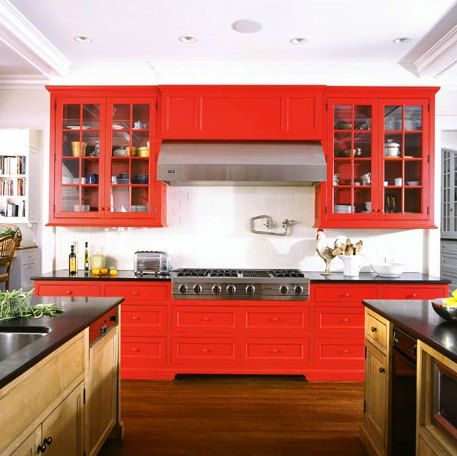 bright red in kitchenDiy Ideas, County Architects, Red Kitchens, Colors Kitchens, Bright Red, Fairfield County, Diy Decor, Kitchens Cabinets, Red Cabinets