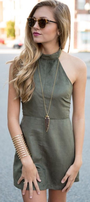 Suede halter dress #swoonboutique