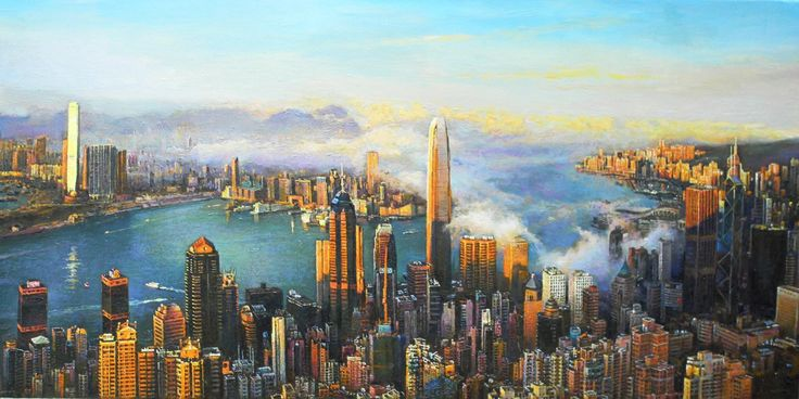 Hong Kong Victoria Harbor 香港維多利亞港 50X100cm oil on canvas #art #hongkong #hk #harbour #painting #canvas #oil #fineart #landscape #realism #realist
