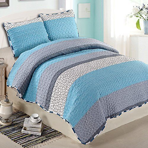 Ntbay 3 Pieces Blue and White Printed Queen Size Quilt Set Queen Blue and White | eBay