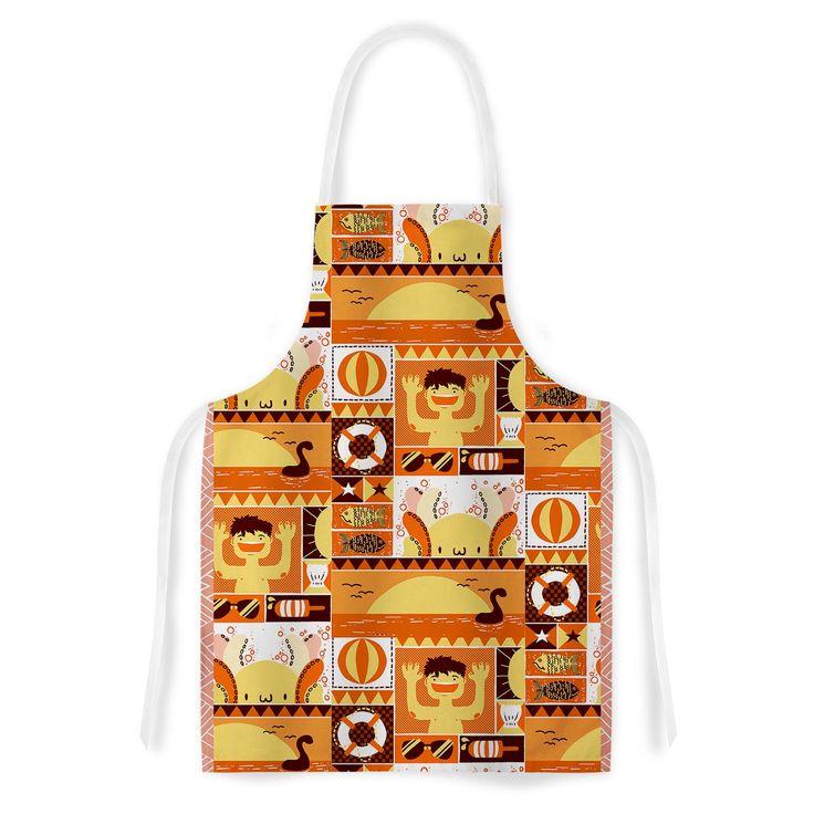 Kess InHouse Tobe Fonseca Summer Orange Seasonal Artistic Apron