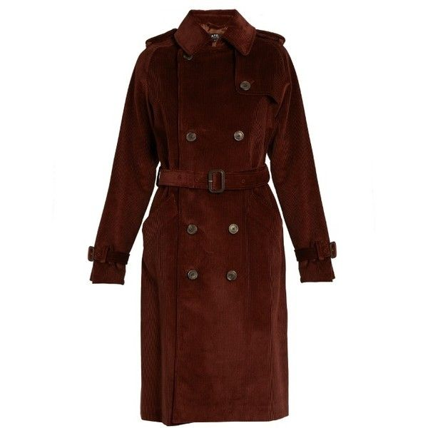 A.p.c. Barbara Corduroy Trench Coat ($551) ❤ liked on Polyvore featuring outerwear, coats, brown coat, a p c coat, brown trench coat, corduroy coat and trench coat