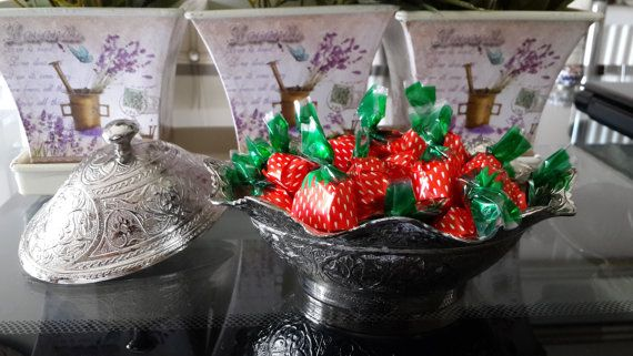 Silver Plated sugar bowl candy bowl Turkish delight by Myowncoffee