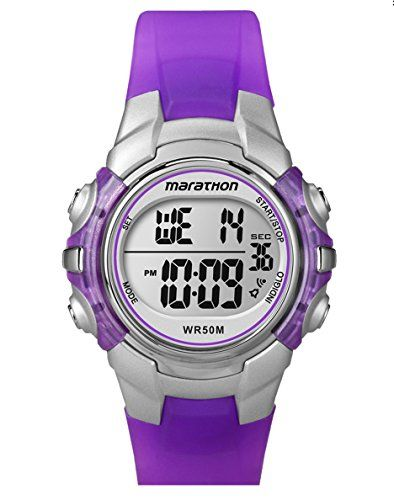 Timex Women's Marathon Sports Purple Digital Watch - The Timex Women's Marathon Sports Digital Silver-Tone Case Translucent Purple Strap Watch offers a crisp, digital dial with a 24-hour chronograph, and a daily alarm. It's ideal for your daily running, swimming, or jogging routine. Plus, it offers a two time zone setting that makes trave...