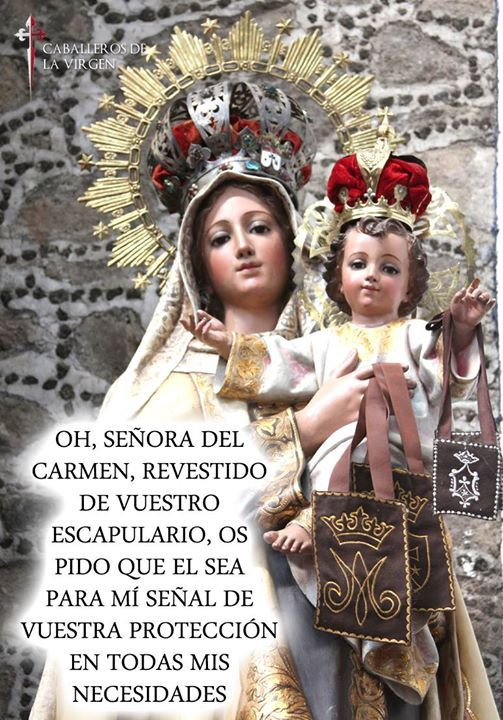 Detente un momento...  Y reza esta oración a nuestra señora del Carmen pidiendo su protección y amparo!  Después comparte con tus amigos para que  ellos también reciban estas gracias.