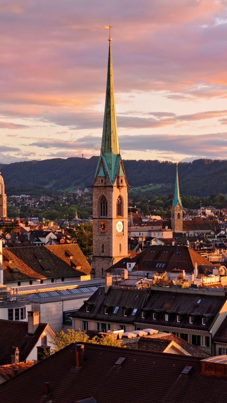 Zurich Switzerland Roofs Buildings Sky #iPhone #6 #wallpaper