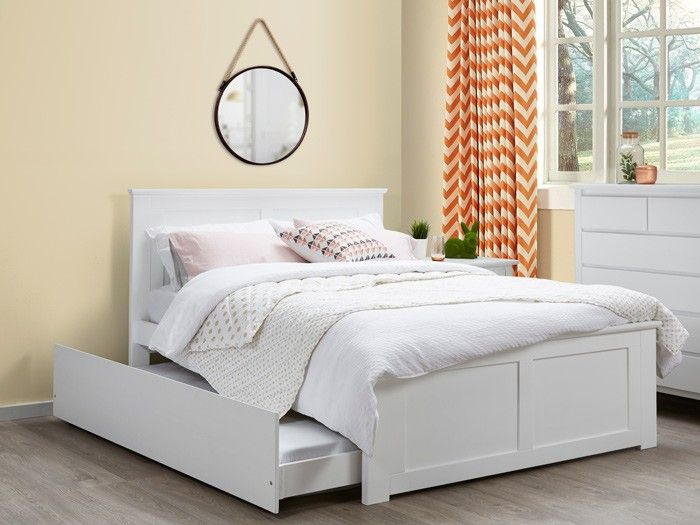 Coco 4PCE White Double Trundle Bedroom Suite – Hardwood ...