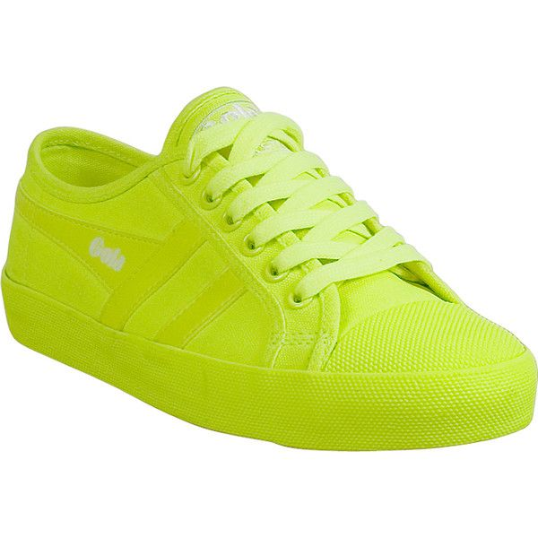 Gola Coaster Neon Women's Low-Top Sneaker ($65) ❤ liked on Polyvore featuring shoes, sneakers, yellow, low top, shock absorbing shoes, gola shoes, cap toe sneakers and neon yellow shoes