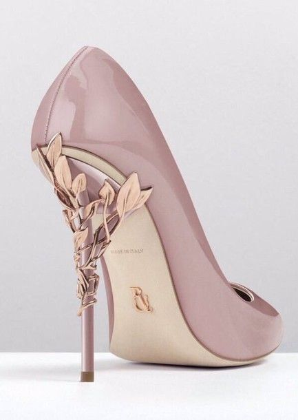 Shoes: pink, gold, high heel pumps, high heels, d'orsay pumps, heels, mauve, rose gold, girly, light pink, stilettos, made in italy, baby pink high heels, pink designer, flowers, beautiful, pale, nude, pink heels, floral, leaves, italy, flower details, cu