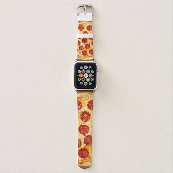 Apple Watch Band Series 3 Pepperoni Pizza Design. Leather. #pizza #etsyfinds