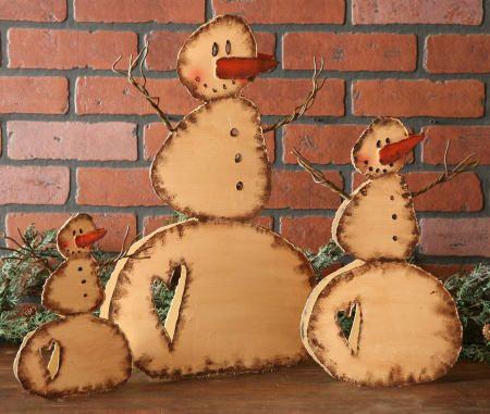 Primitive Snowman -  Group of 3