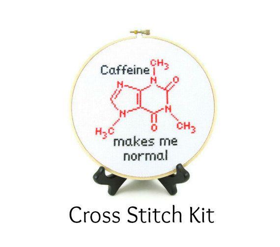 Caffeine Molecule Cross Stitch KIT. $20.00, via Etsy.
