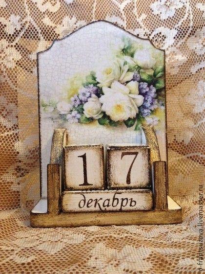 Календари ручной работы. Ярмарка Мастеров - ручная работа Вечный календарь винтажный. Декупаж.. Handmade.