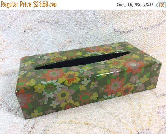 20% SALE Vintage Tissue Box Cover Plastic Resin Flower Power