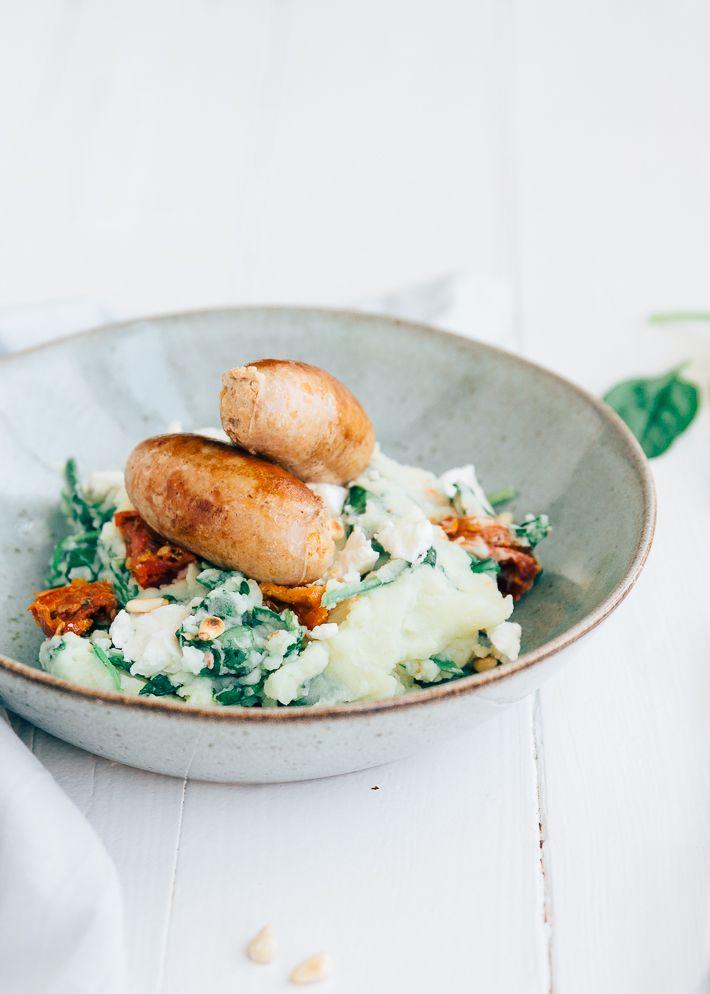 Fresh & Easy: Spinaziestamppot met worstjes - Uit Pauline's Keuken