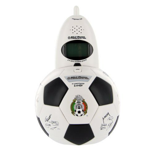 Bell Phones 2.4 GHz Mexican Soccer Federation Ball Cordless Phone by Bell. $10.79. Celebrate your Mexican pride with this Mexican Football Federation (Federacion Mexicana de Fútbol Asoc.) 2.4 GHz Cordless Phone. The base resembles a soccer ball and is fully detailed, including the federation's logo and signatures of many of the players. The phone itself has hexagon shaped black and white buttons and includes call waiting caller ID, a visual ringer, 40 autoscan channels, and 2...