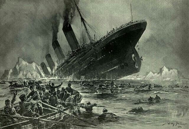 "A famous depiction of the Titanic disaster on April 15th 1912. Its an engraving by the professor Willy Stöwer: Originally called ""Der Untergang der Titanic"" for the german magazine ""Gartenlaube"" in 1912"
