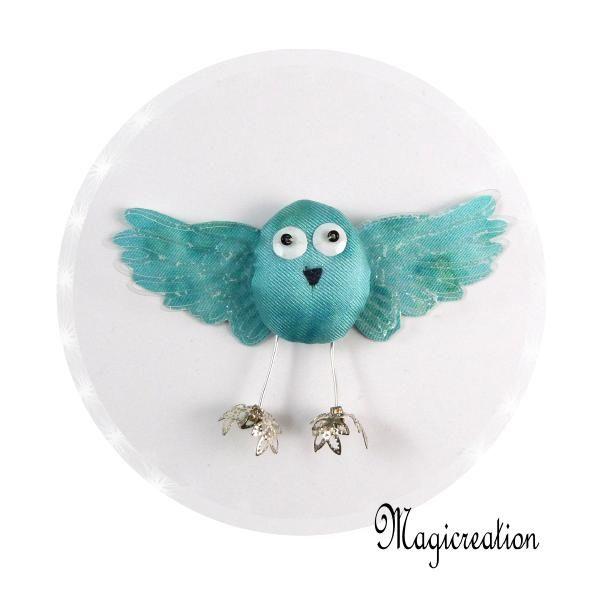 MAGNET OISEAU SOIE TURQUOISE - Boutique www.magicreation.fr