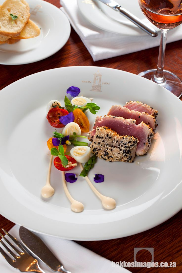 Asara Wine Estate & Hotel in Stellenbosch is a prestigious five star facility with magnificent food and wine. Seared Tuna by chef Craig Patterson Photography by bakkesimages.co.za.