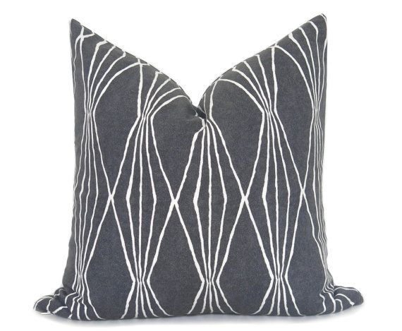 Mid Century Modern Pillow Cover Charcoal Pillow Decorative