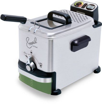 """Emeril Lagasse by T-fal FR7015001 Advanced Oil Control Deep Fryer with EZ Clean Filter, Silver. Once your oil is cooled, it filters and automatically drains oil for future use. The clean oil is stored in a separate, re-sealable plastic container for easy storage until the next use. - """"I like this fryer and have made wonderful fried chicken, doughnuts, buffalo wings and apple fritters."""""""