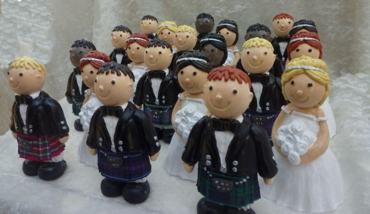 "Mix & Match ""Tartan Tops"" Bride & Groom with Kilts Wedding Cake Toppers 