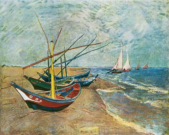 Vincent van Gogh - Fishing Boats on the Beach at Saints-Maries Art Experience NYC www.artexperiencenyc.com/social_login/?utm_source=pinterest_medium=pins_content=pinterest_pins_campaign=pinterest_initial