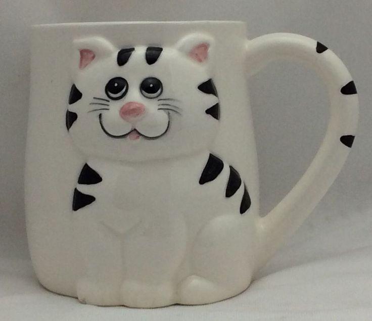 Lefton China Hand Painted Tiger Stripe Cat Coffee Mug 1985 Geo Z Lefton Kitty #LeftonChina