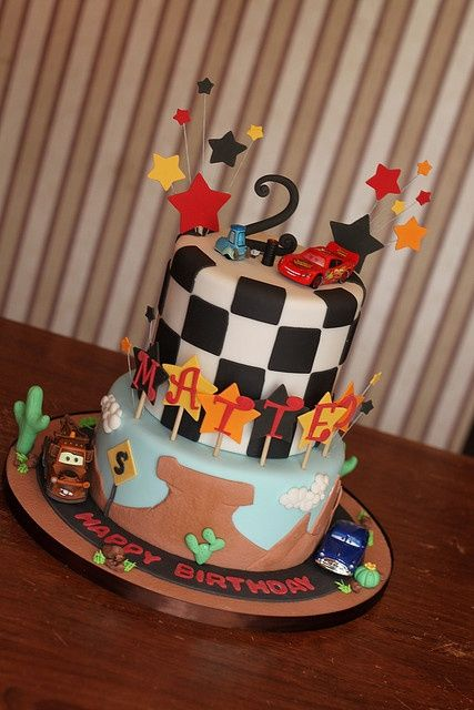 2nd birthday race car cake