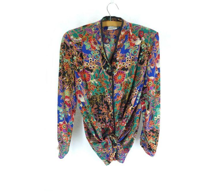 Vintage Bright Print Oversized Unusual  Silky Shirt - Size 12 UK (8US)