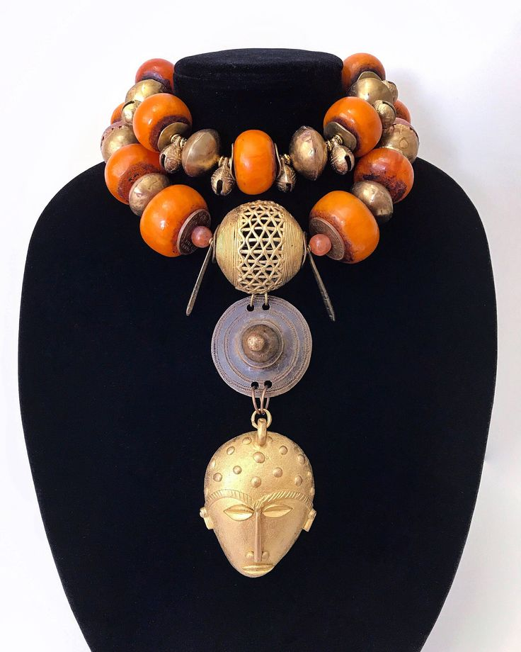 African Brass Mask Pendant, Tribal, Ethnic, Vintage, Boho, Large, Moroccan Berber Amber Resin Choker Necklace, African, Mali Brass Beads by DivineEminenceArt on Etsy https://www.etsy.com/listing/544149347/african-brass-mask-pendant-tribal-ethnic