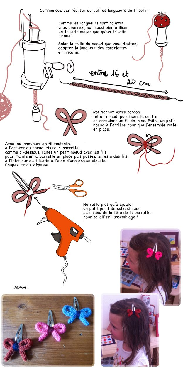 DIY barrette noeud tricotin