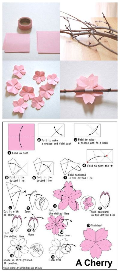 Paper cherry blossoms - link to instructions