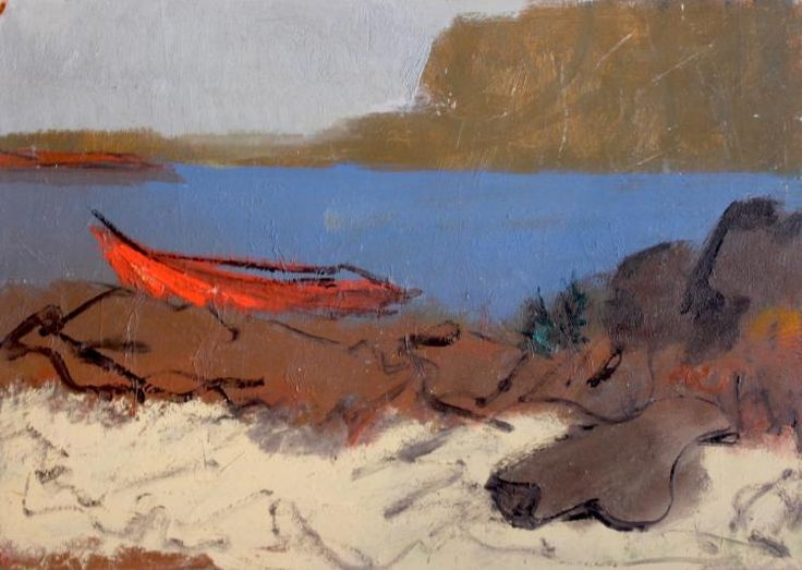 """Paul Chidlaw (1900-1989), """"The Red Boat"""", Original oil painting"""