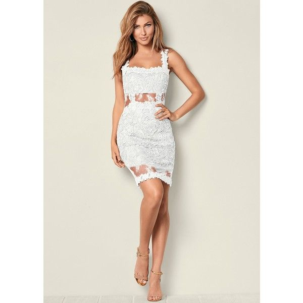 Venus Women's Plus Size Lace Bodycon Dress ($60) ❤ liked on Polyvore featuring dresses, white, lace bodycon dress, plus size white dress, bodycon cocktail dresses, plus size lace cocktail dresses and plus size bodycon dresses