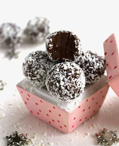 Almond Joy Avocado Truffles - make these scrumptious little snowballs with raw cacao powder, carob chips and unsweetened coconut flakes for a yummy Phase 3 splurge!