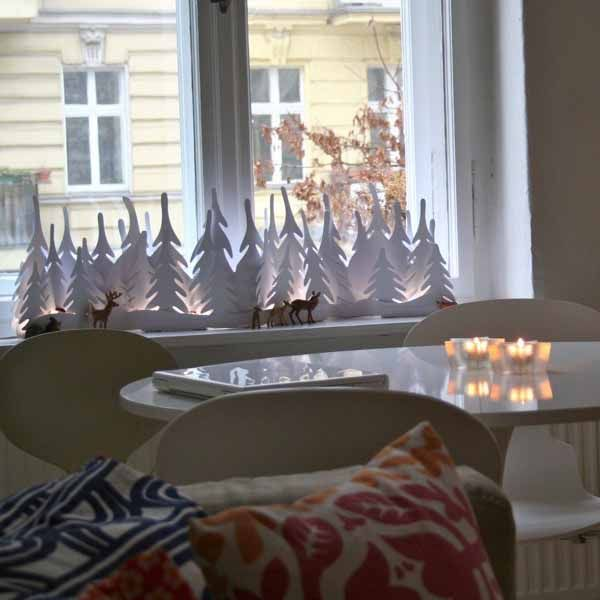 Miniature christmas trees for window sill decorating