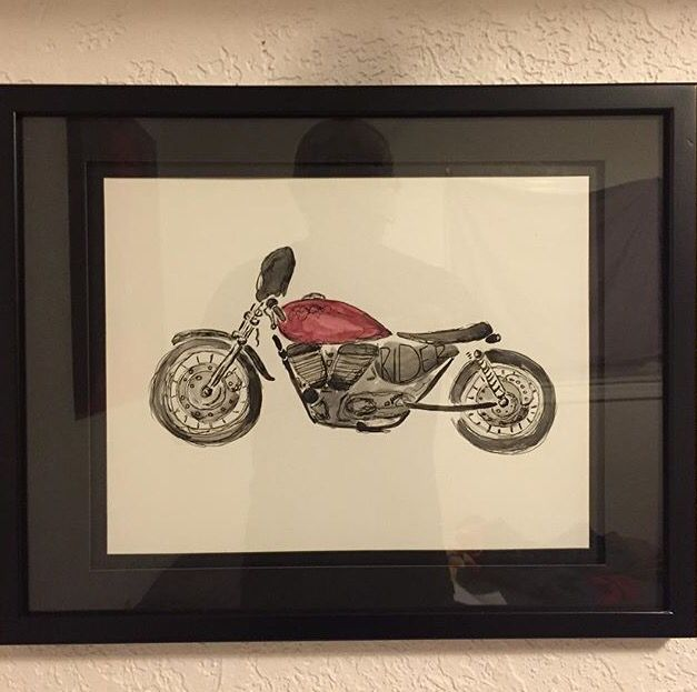 HARLEY cafe racer #harley #motorcycle #caferacer #watercolors #ink #sportster
