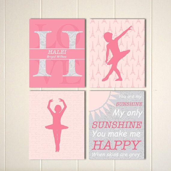 Baby girl nursery art, french nursery,monogram, ballerina, you are my sunshine, damask nursery by PicabooArtStudio, $28.00