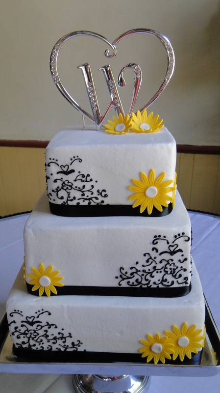 3 tiered black and white scroll wedding cake with fondant yellow daisies: Scroll Wedding Cake, Red Flowers, Cakes Toppers, Wedding Cakes, Cupcakes 10, Wedding Handfasting, Cake Toppers