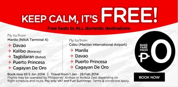 AirAsia Philippines and AirAsia Zest offers FREE SEATS to ALL domestic destinations - http://outoftownblog.com/airasia-philippines-airasia-zest-offers-free-seats-domestic-destinations/