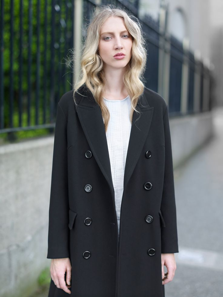 Double-breasted coat with oversized buttons by Carolyn Donnelly The Edit
