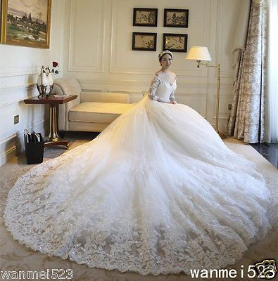 Shiny-Long-Sleeve-A-Line-Wedding-Dress-White-Ivory-Bridal-Gowns-Cathedral-Train