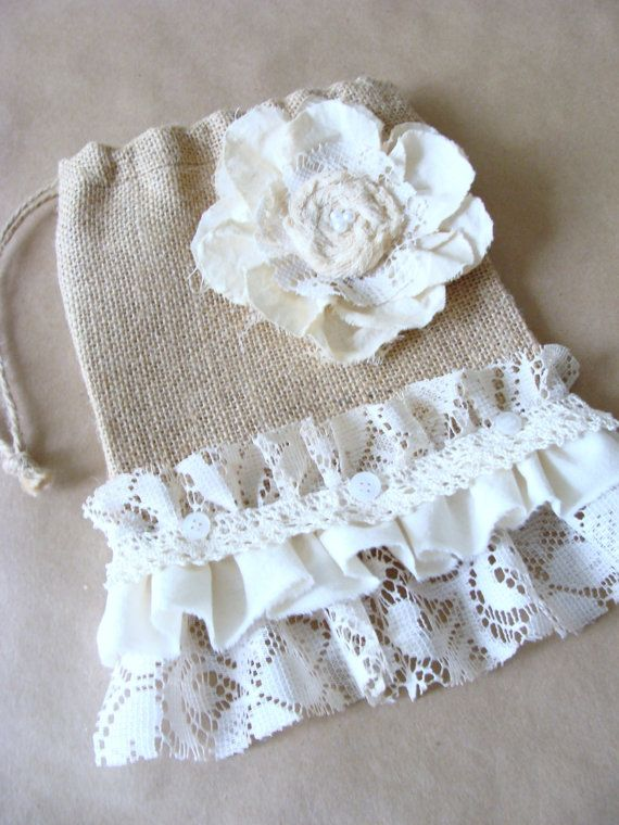Burlap and Lace Bag Pouch Purse Gift Bag Handmade Fabric Lace Flower Ruffle Flea Market Tote