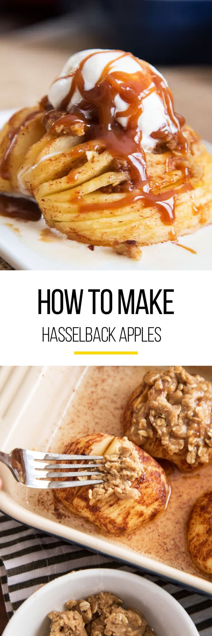 Use those apples from your apple-picking trip to make this simple apple recipe. We're showing you how to make hasselback apples. This sweet apple dessert screams fall if your in the mood for a treat. All you need for this healthy(ish) recipe is firm apples, unsalted butter, brown sugar, cinnamon, flour, rolled oats salt, cooking spray and top it all off with ice cream.